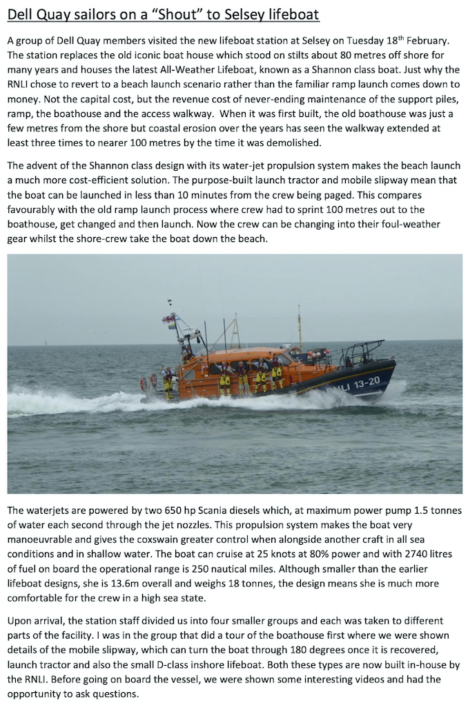 Dell Quay sailors visit Selsey lifeboat copy 2