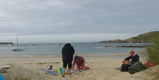 BBQ in the sand dunes in Braye Harbour, Alderney